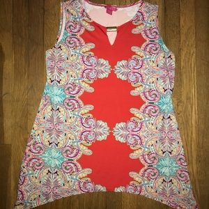 Paisley Pattern Red Sleeveless Top